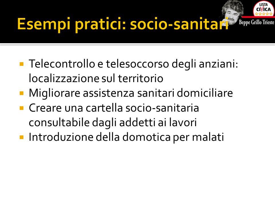  Telecontrollo e telesoccorso degli anziani: localizzazione sul territorio  Migliorare assistenza sanitari domiciliare  Creare una cartella socio-s