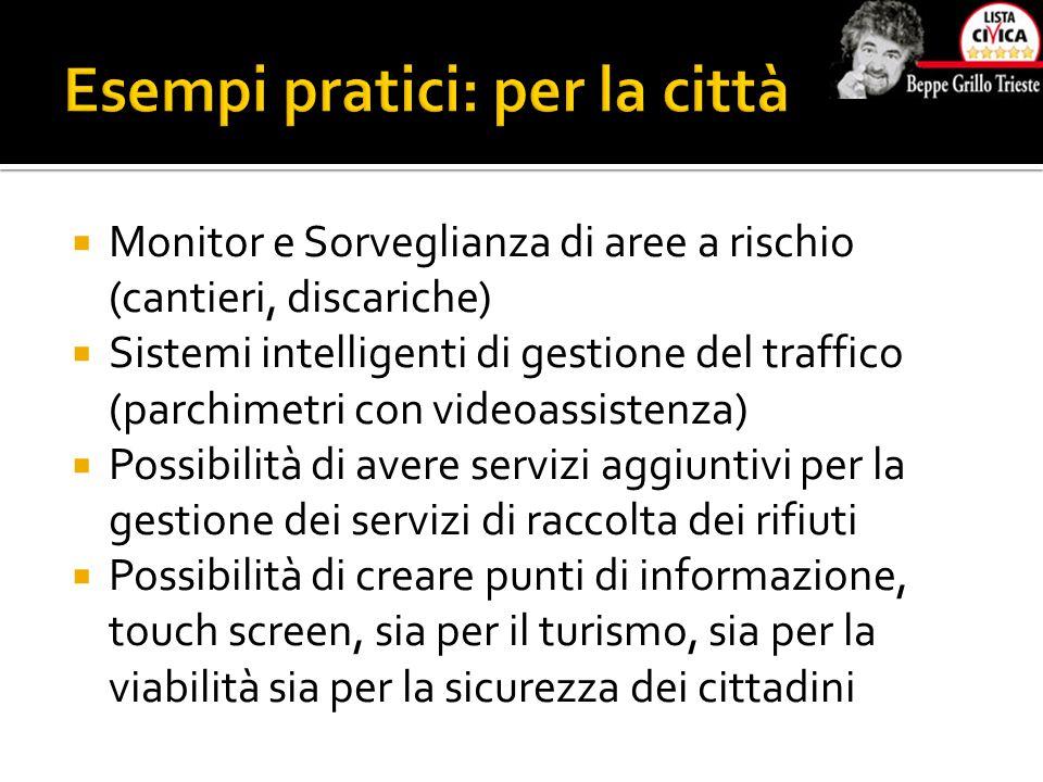  Monitor e Sorveglianza di aree a rischio (cantieri, discariche)  Sistemi intelligenti di gestione del traffico (parchimetri con videoassistenza)  Possibilità di avere servizi aggiuntivi per la gestione dei servizi di raccolta dei rifiuti  Possibilità di creare punti di informazione, touch screen, sia per il turismo, sia per la viabilità sia per la sicurezza dei cittadini