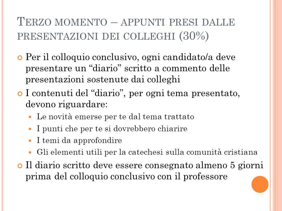 """T ERZO MOMENTO – APPUNTI PRESI DALLE PRESENTAZIONI DEI COLLEGHI (30%) Per il colloquio conclusivo, ogni candidato/a deve presentare un """"diario"""" scritt"""