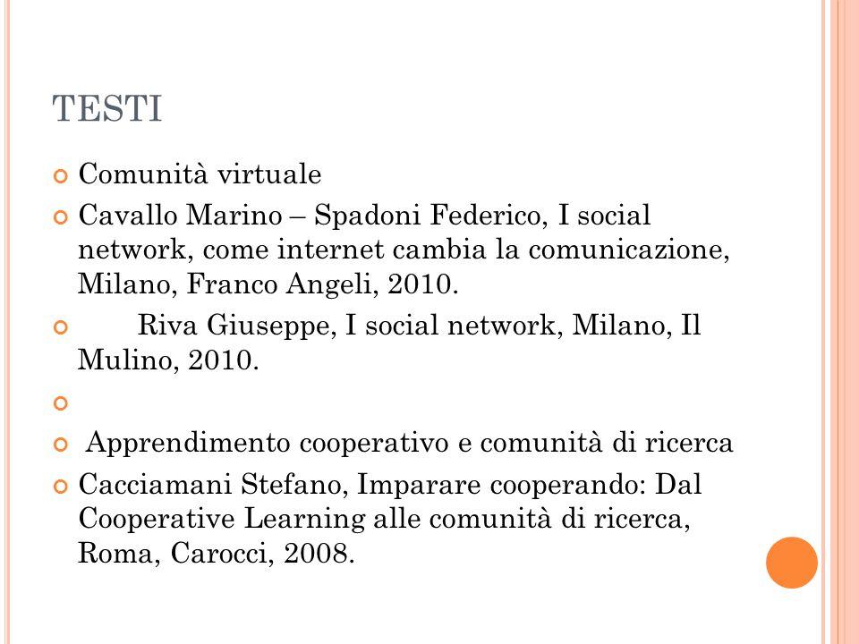 TESTI Comunità virtuale Cavallo Marino – Spadoni Federico, I social network, come internet cambia la comunicazione, Milano, Franco Angeli, 2010. Riva