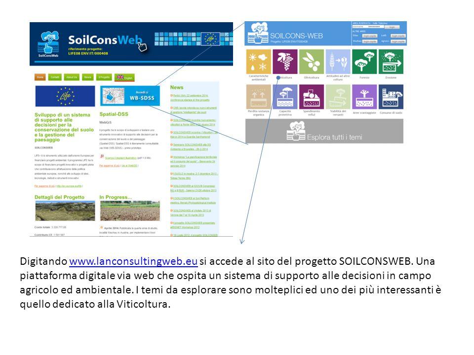 Digitando www.lanconsultingweb.eu si accede al sito del progetto SOILCONSWEB.