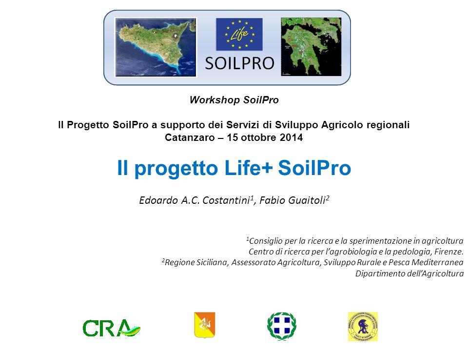 Project: LIFE08 ENV IT 000428 SOILPRO MONITORING FOR SOIL PROTECTION Il progetto SOILPRO ha come obiettivo principale monitorare la degradazione del suolo, in linea con la Thematic Strategy for Soil Protection, in due regioni europee Partecipanti: Coordinator beneficiary: CRA-ABP Associated: NATIONAL AND KAPODISTRIAN UNIVERSITY OF ATHENS; REGION OF PELOPONNESOS; REGIONE SICILIANA Regione Siciliana Assessorato regionale dell agricoltura, dello sviluppo rurale e della pesca mediterranea Il progetto Life+ SoilPro