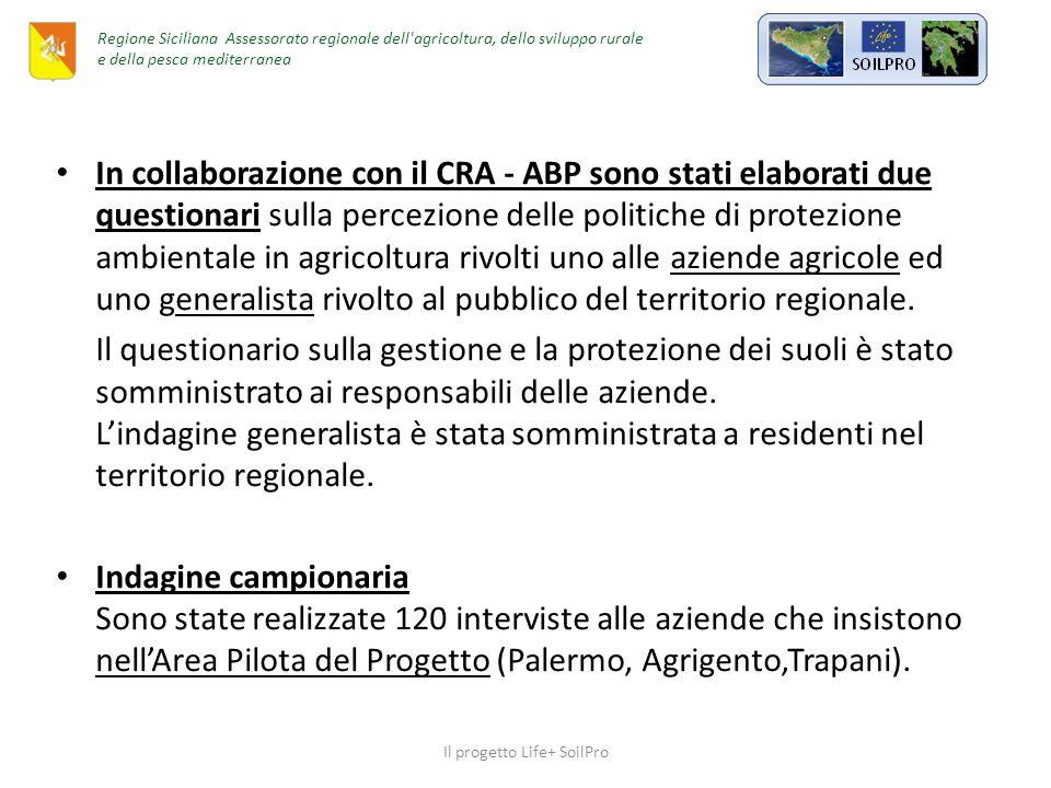 In collaborazione con il CRA - ABP sono stati elaborati due questionari sulla percezione delle politiche di protezione ambientale in agricoltura rivolti uno alle aziende agricole ed uno generalista rivolto al pubblico del territorio regionale.