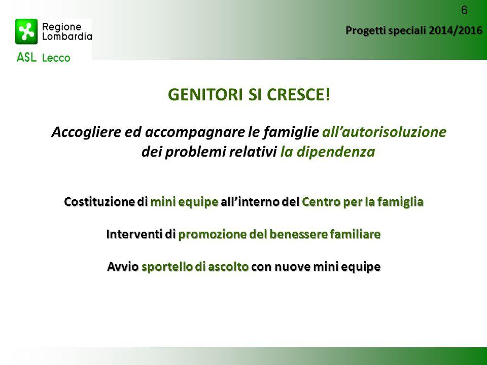 Progetti speciali 2014/2016 GENITORI SI CRESCE! Accogliere ed accompagnare le famiglie all'autorisoluzione dei problemi relativi la dipendenza Costitu