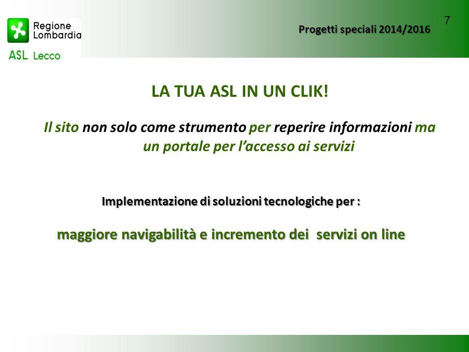 Progetti speciali 2014/2016 LA TUA ASL IN UN CLIK! Il sito non solo come strumento per reperire informazioni ma un portale per l'accesso ai servizi Im