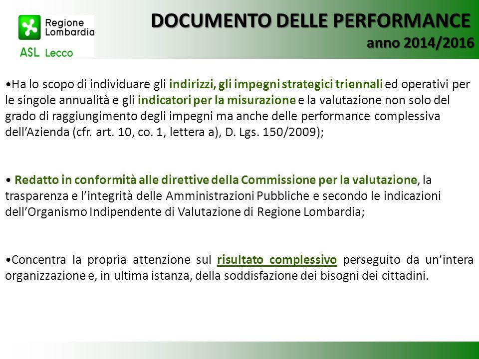 DOCUMENTO DELLE PERFORMANCE anno 2014/2016 Ha lo scopo di individuare gli indirizzi, gli impegni strategici triennali ed operativi per le singole annu