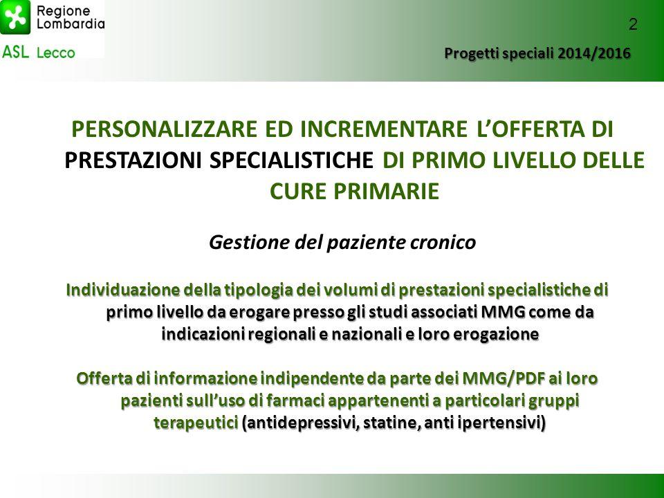 Progetti speciali 2014/2016 Progetti speciali 2014/2016 PERSONALIZZARE ED INCREMENTARE L'OFFERTA DI PRESTAZIONI SPECIALISTICHE DI PRIMO LIVELLO DELLE