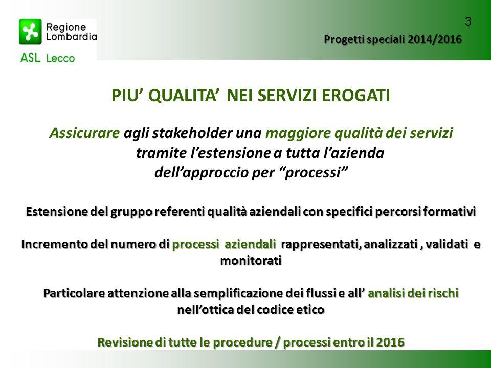Progetti speciali 2014/2016 PIU' QUALITA' NEI SERVIZI EROGATI Assicurare agli stakeholder una maggiore qualità dei servizi tramite l'estensione a tutt