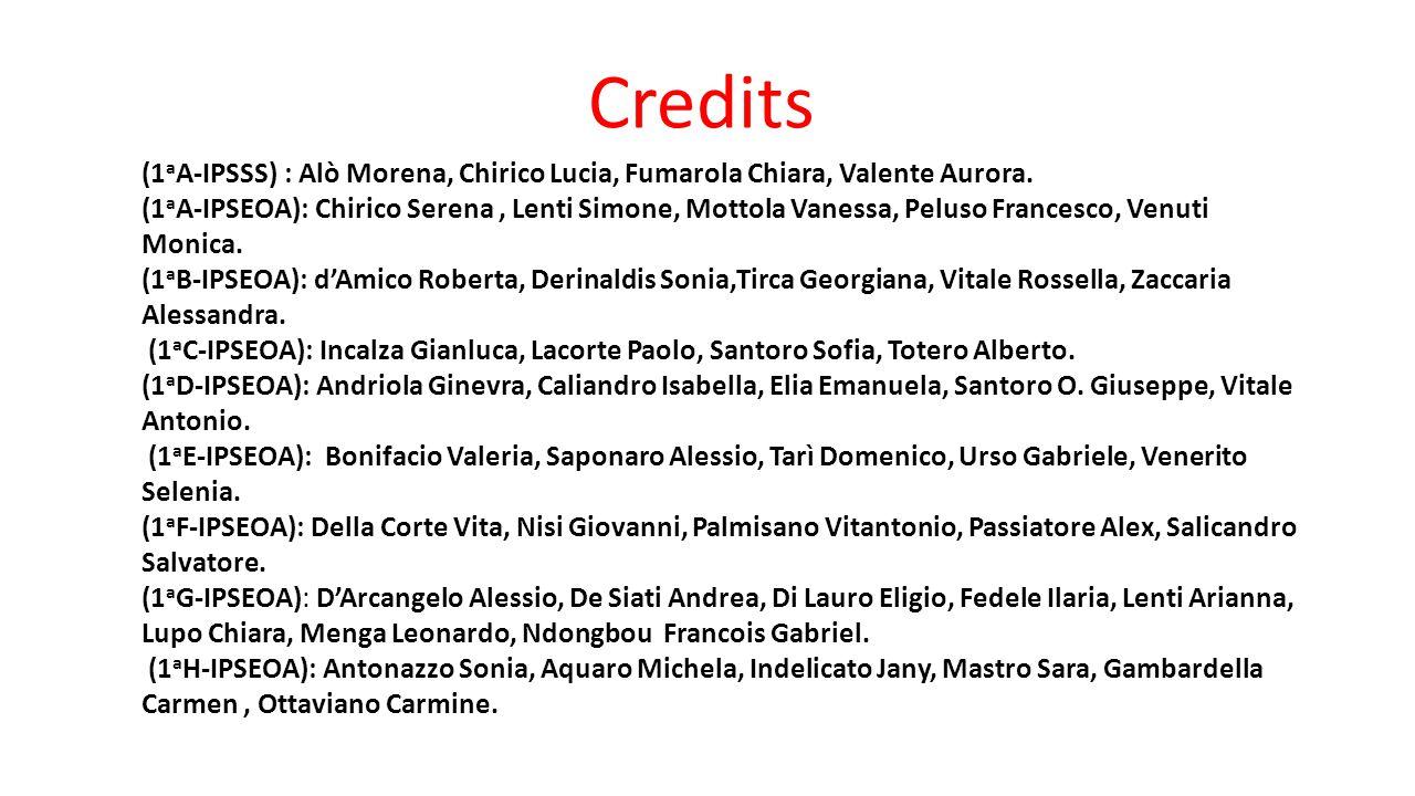(1 a A-IPSSS) : Alò Morena, Chirico Lucia, Fumarola Chiara, Valente Aurora. (1 a A-IPSEOA): Chirico Serena, Lenti Simone, Mottola Vanessa, Peluso Fran