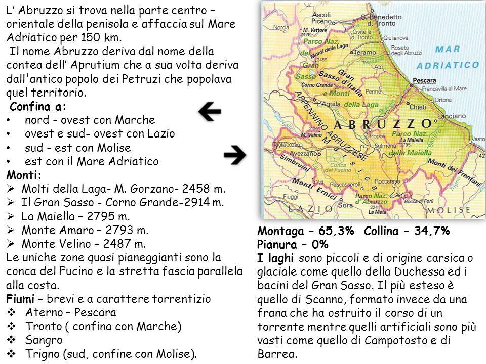 Montaga – 65,3% Collina – 34,7% Pianura – 0% I laghi sono piccoli e di origine carsica o glaciale come quello della Duchessa ed i bacini del Gran Sass