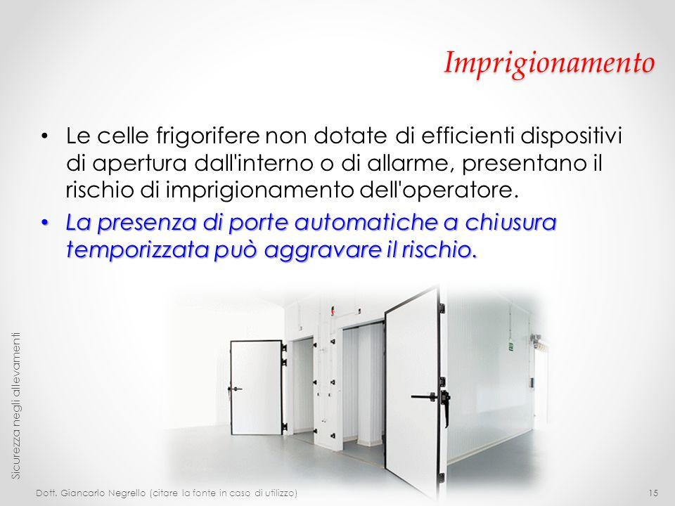 Imprigionamento Le celle frigorifere non dotate di efficienti dispositivi di apertura dall'interno o di allarme, presentano il rischio di imprigioname