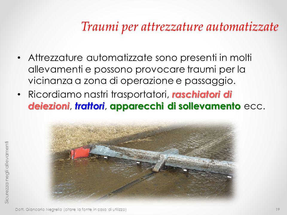 Traumi per attrezzature automatizzate Attrezzature automatizzate sono presenti in molti allevamenti e possono provocare traumi per la vicinanza a zona