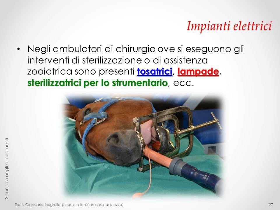 Impianti elettrici tosatricilampade sterilizzatrici per lo strumentario Negli ambulatori di chirurgia ove si eseguono gli interventi di sterilizzazion