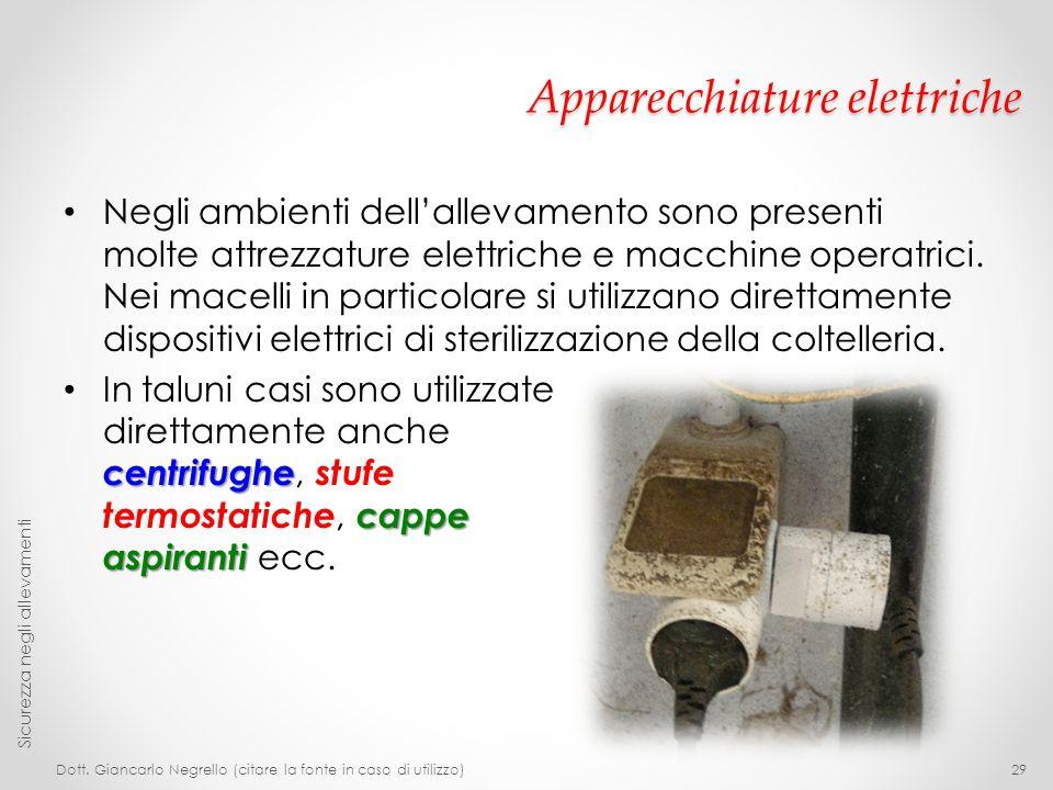 Apparecchiature elettriche Negli ambienti dell'allevamento sono presenti molte attrezzature elettriche e macchine operatrici. Nei macelli in particola