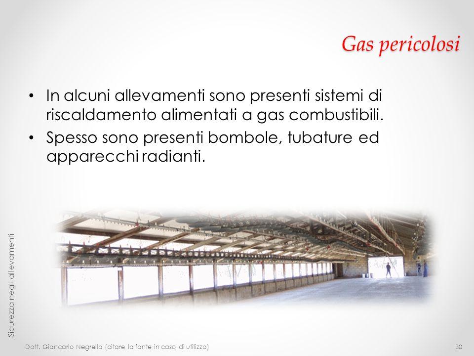 Gas pericolosi In alcuni allevamenti sono presenti sistemi di riscaldamento alimentati a gas combustibili. Spesso sono presenti bombole, tubature ed a