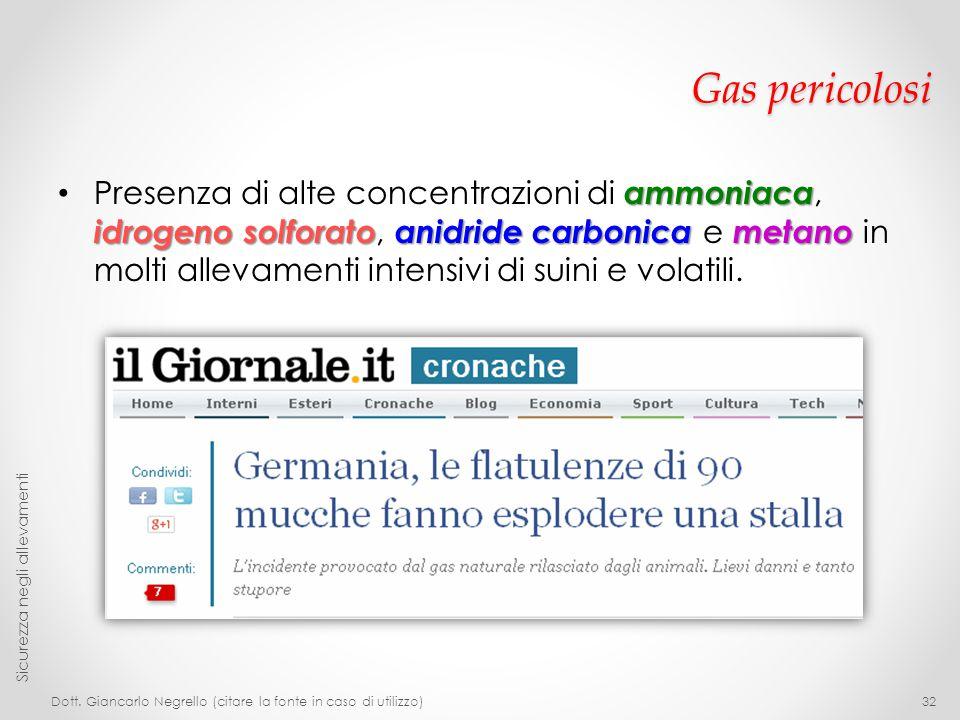 Gas pericolosi ammoniaca idrogeno solforatoanidride carbonica metano Presenza di alte concentrazioni di ammoniaca, idrogeno solforato, anidride carbon