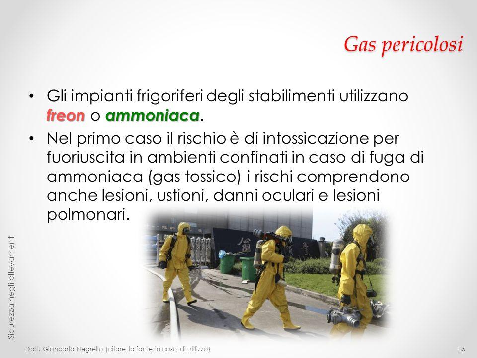 Gas pericolosi freon ammoniaca Gli impianti frigoriferi degli stabilimenti utilizzano freon o ammoniaca. Nel primo caso il rischio è di intossicazione