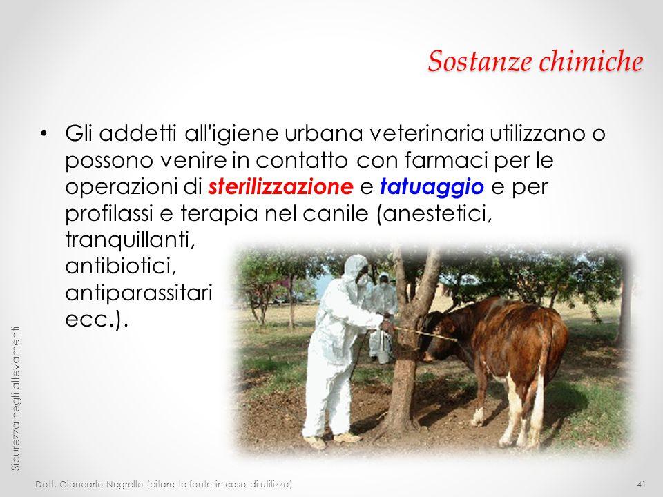 Sostanze chimiche Gli addetti all'igiene urbana veterinaria utilizzano o possono venire in contatto con farmaci per le operazioni di sterilizzazione e
