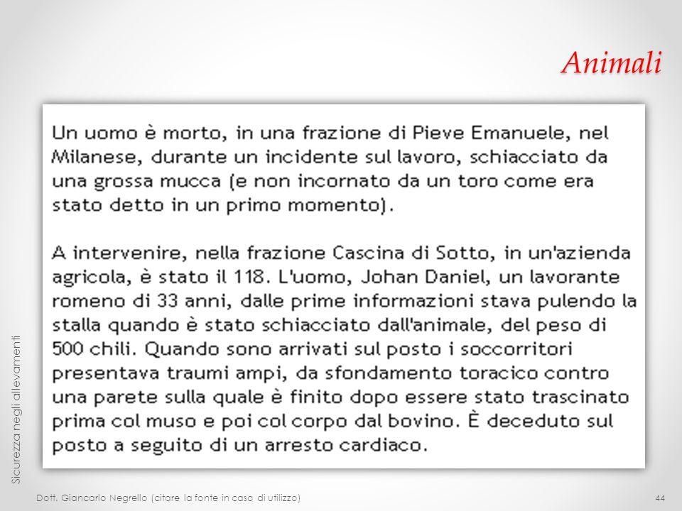 Animali Dott. Giancarlo Negrello (citare la fonte in caso di utilizzo) Sicurezza negli allevamenti 44