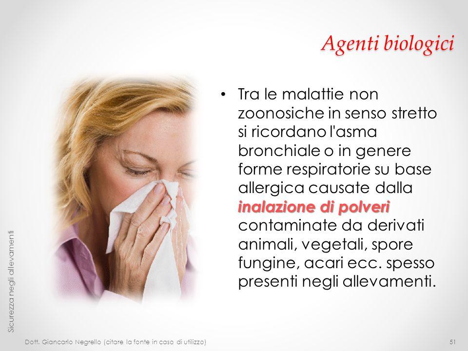 Agenti biologici inalazione di polveri Tra le malattie non zoonosiche in senso stretto si ricordano l'asma bronchiale o in genere forme respiratorie s