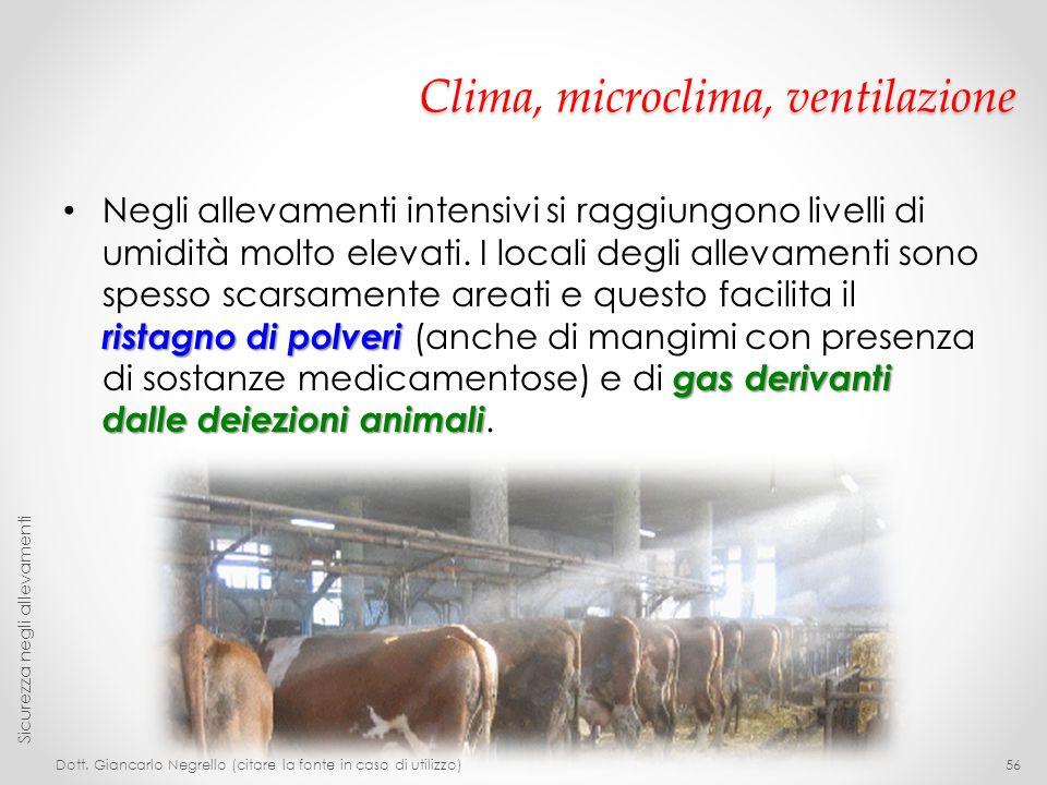 Clima, microclima, ventilazione ristagno di polveri gas derivanti dalle deiezioni animali Negli allevamenti intensivi si raggiungono livelli di umidit