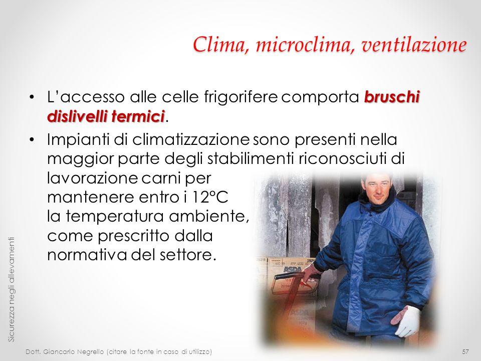 Clima, microclima, ventilazione bruschi dislivelli termici L'accesso alle celle frigorifere comporta bruschi dislivelli termici. Impianti di climatizz