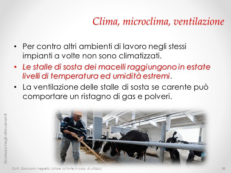 Clima, microclima, ventilazione Per contro altri ambienti di lavoro negli stessi impianti a volte non sono climatizzati. Le stalle di sosta dei macell