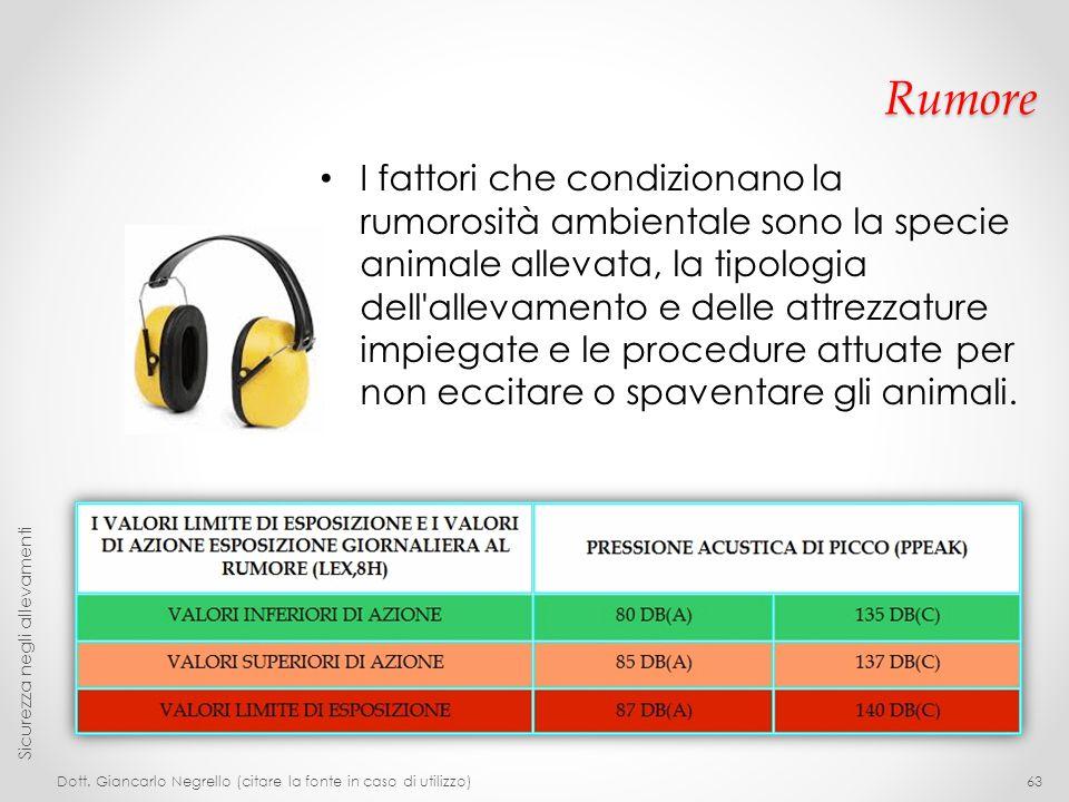 Rumore I fattori che condizionano la rumorosità ambientale sono la specie animale allevata, la tipologia dell'allevamento e delle attrezzature impiega