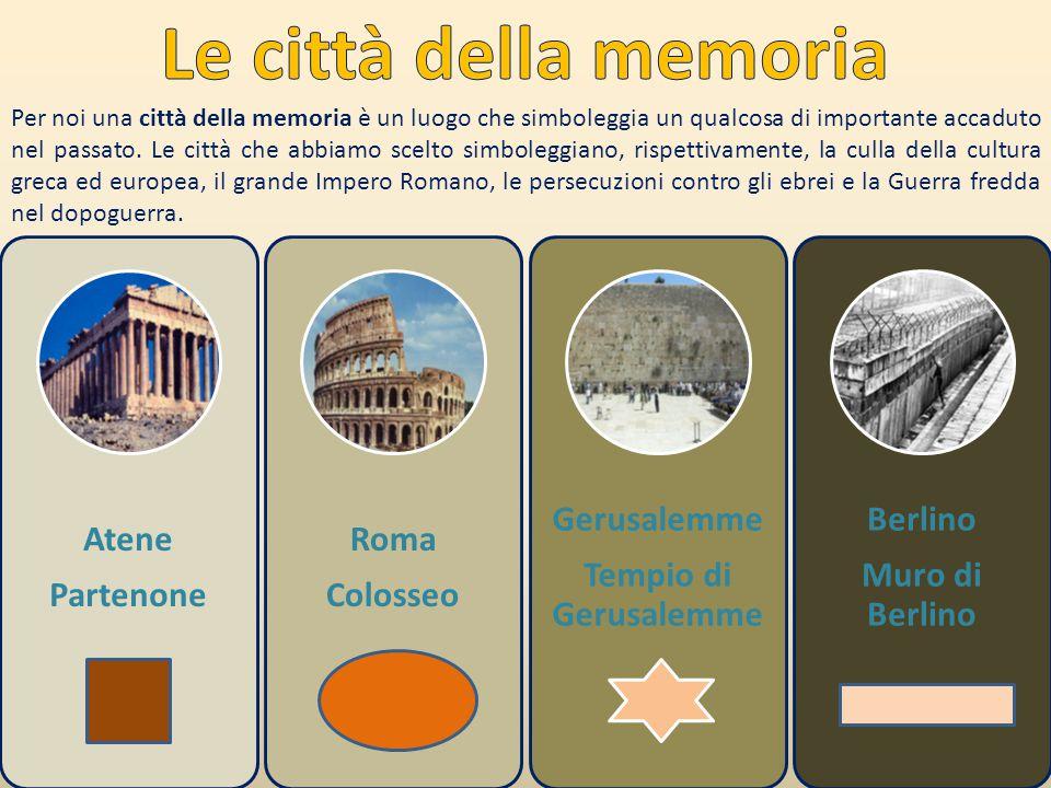 Atene Partenone Roma Colosseo Gerusalemme Tempio di Gerusalemme Berlino Muro di Berlino Per noi una città della memoria è un luogo che simboleggia un qualcosa di importante accaduto nel passato.