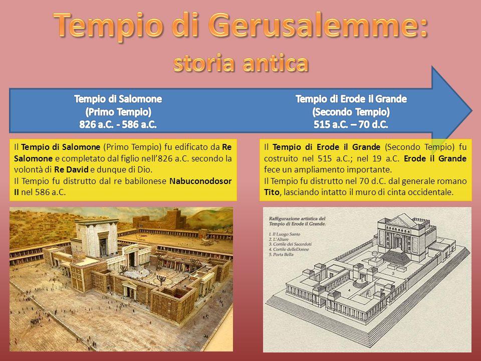 Il Tempio di Salomone (Primo Tempio) fu edificato da Re Salomone e completato dal figlio nell'826 a.C.