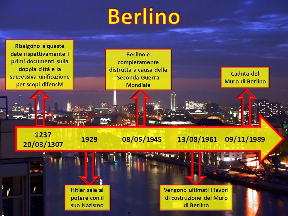 1237 20/03/1307 192908/05/194513/08/196109/11/1989 Risalgono a queste date rispettivamente i primi documenti sulla doppia città e la successiva unificazione per scopi difensivi Hitler sale al potere con il suo Nazismo Vengono ultimati i lavori di costruzione del Muro di Berlino Berlino è completamente distrutta a causa della Seconda Guerra Mondiale Caduta del Muro di Berlino