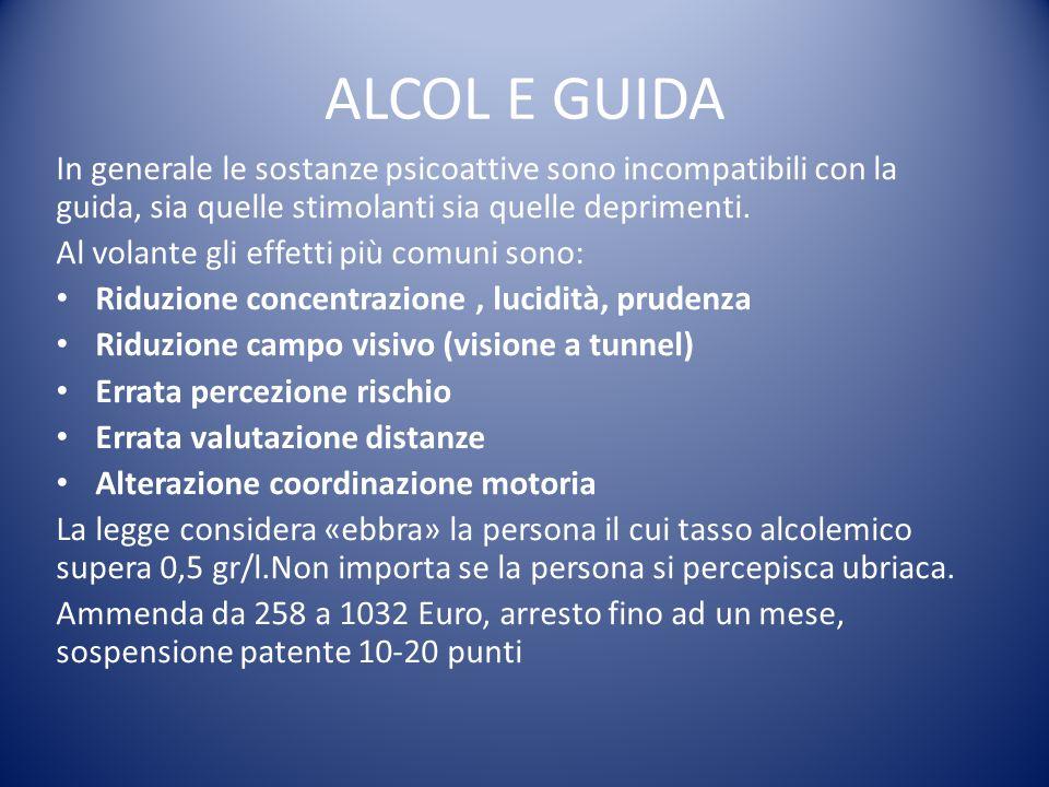 ALCOL E GUIDA In generale le sostanze psicoattive sono incompatibili con la guida, sia quelle stimolanti sia quelle deprimenti. Al volante gli effetti