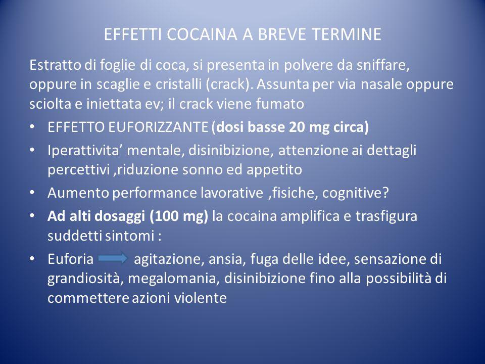 EFFETTI COCAINA A BREVE TERMINE Estratto di foglie di coca, si presenta in polvere da sniffare, oppure in scaglie e cristalli (crack). Assunta per via