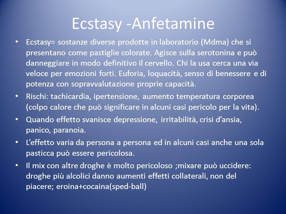 Ecstasy -Anfetamine Ecstasy= sostanze diverse prodotte in laboratorio (Mdma) che si presentano come pastiglie colorate. Agisce sulla serotonina e può