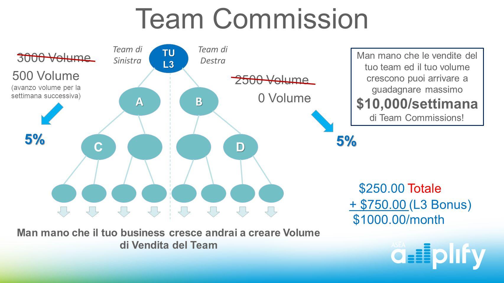 Team Commission Team di Sinistra Team di Destra TUL3 AB DC 3000 Volume 2500 Volume 5% 500 Volume (avanzo volume per la settimana successiva) 0 Volume