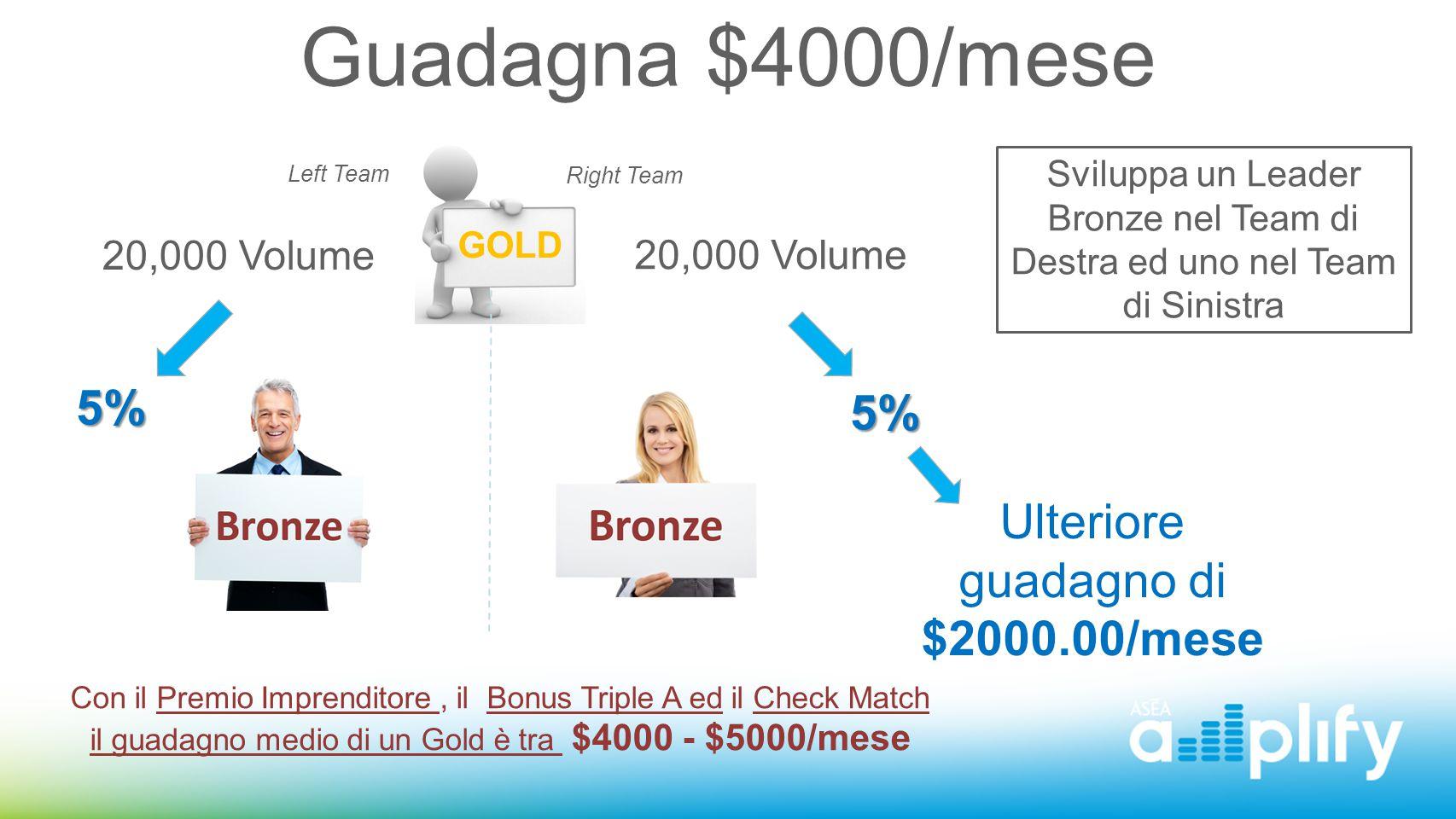Guadagna $4000/mese Left Team Right Team 20,000 Volume 5% Ulteriore guadagno di $2000.00/mese Sviluppa un Leader Bronze nel Team di Destra ed uno nel