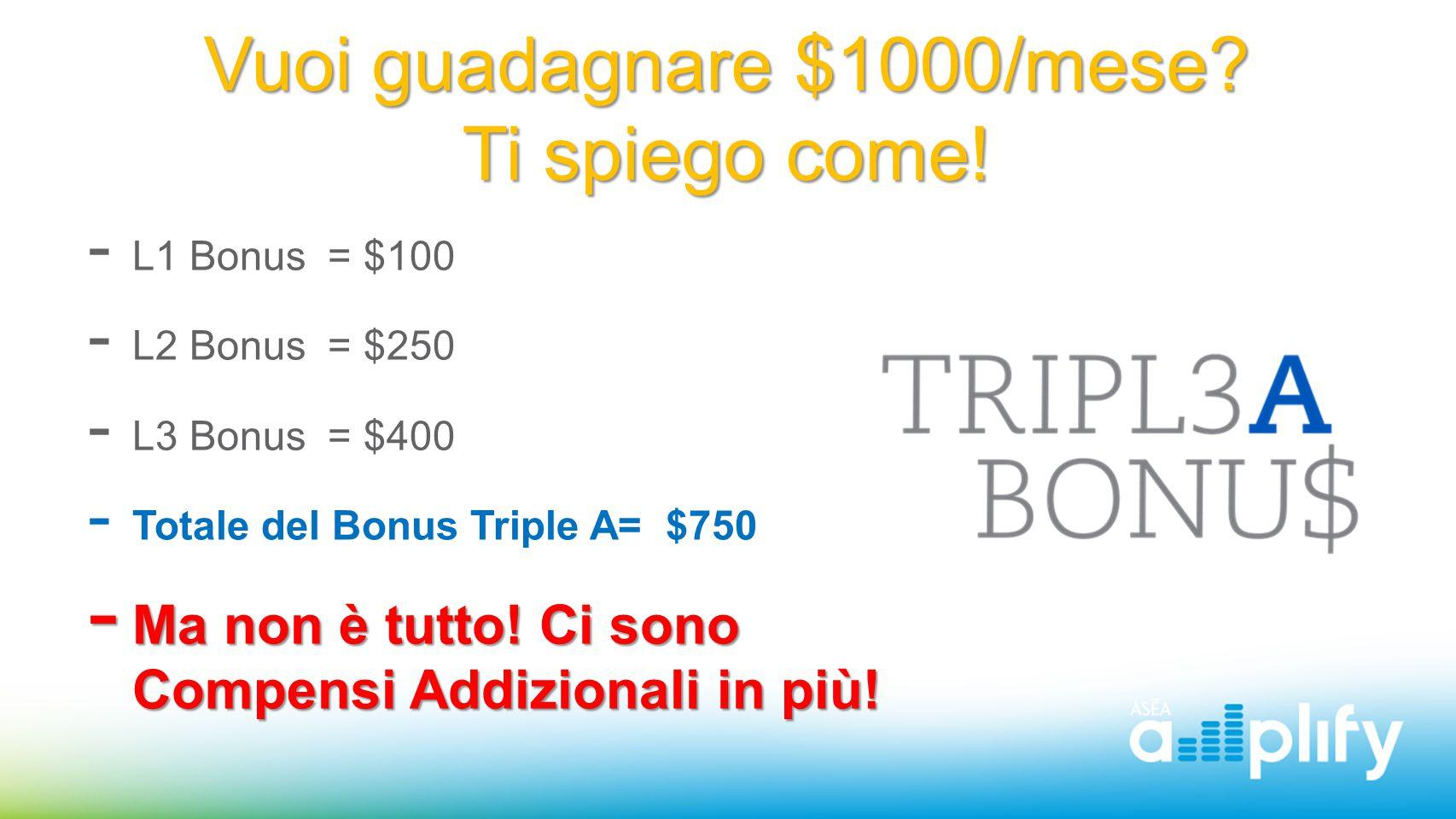 Vuoi guadagnare $1000/mese? Ti spiego come!  L1 Bonus = $100  L2 Bonus = $250  L3 Bonus = $400  Totale del Bonus Triple A= $750  Ma non è tutto!