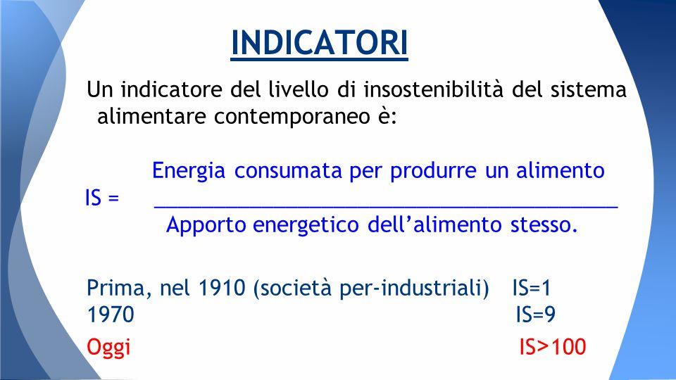 Un indicatore del livello di insostenibilità del sistema alimentare contemporaneo è: Energia consumata per produrre un alimento IS = _______________________________________ Apporto energetico dell'alimento stesso.
