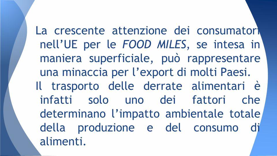 La crescente attenzione dei consumatori nell'UE per le FOOD MILES, se intesa in maniera superficiale, può rappresentare una minaccia per l'export di molti Paesi.