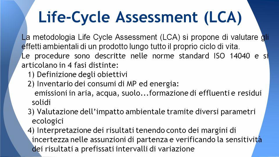 La metodologia Life Cycle Assessment (LCA) si propone di valutare gli effetti ambientali di un prodotto lungo tutto il proprio ciclo di vita.