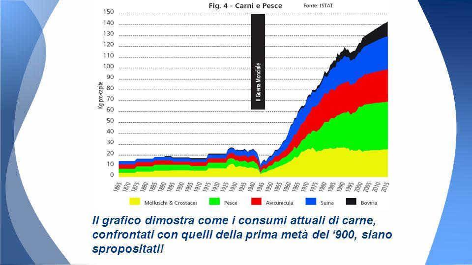 Il grafico dimostra come i consumi attuali di carne, confrontati con quelli della prima metà del '900, siano spropositati!