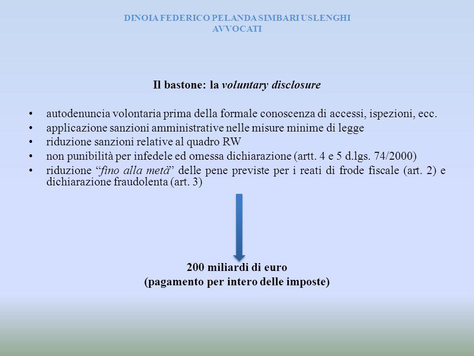 DINOIA FEDERICO PELANDA SIMBARI USLENGHI AVVOCATI Il bastone: la voluntary disclosure autodenuncia volontaria prima della formale conoscenza di access
