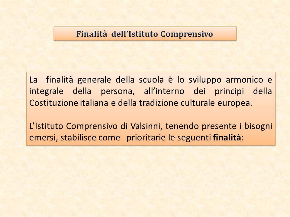 La finalità generale della scuola è lo sviluppo armonico e integrale della persona, all'interno dei principi della Costituzione italiana e della tradi