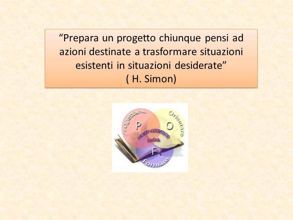 """""""Prepara un progetto chiunque pensi ad azioni destinate a trasformare situazioni esistenti in situazioni desiderate"""" ( H. Simon) """"Prepara un progetto"""