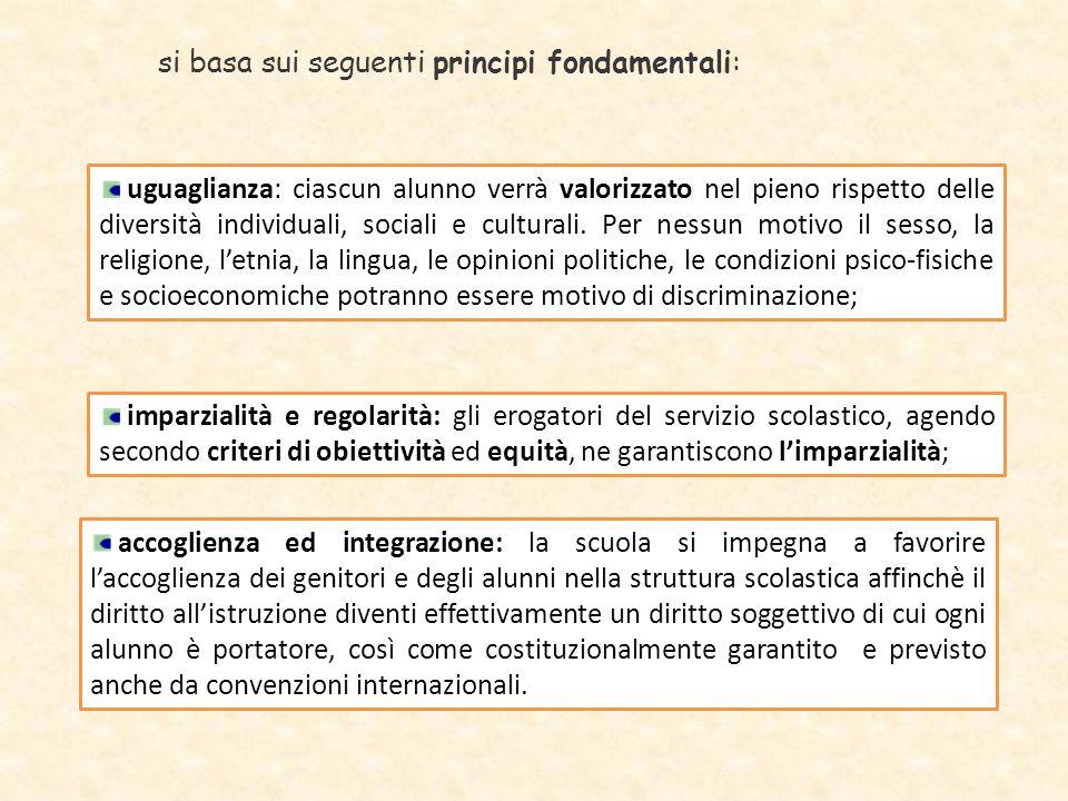 si basa sui seguenti principi fondamentali: uguaglianza: ciascun alunno verrà valorizzato nel pieno rispetto delle diversità individuali, sociali e cu