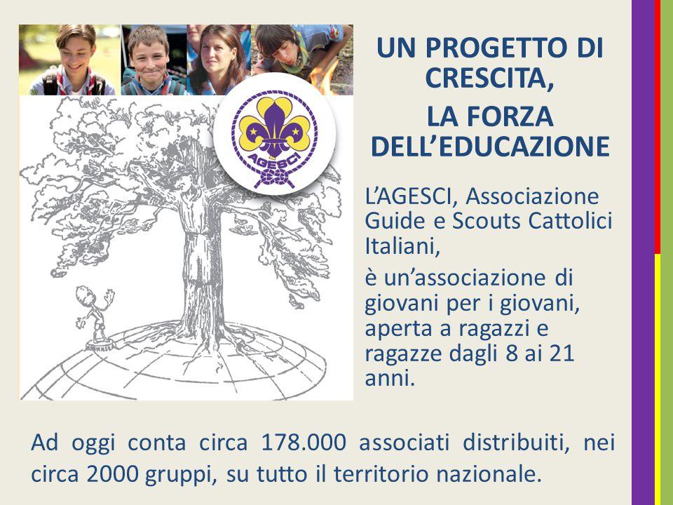 UN PROGETTO DI CRESCITA, LA FORZA DELL'EDUCAZIONE L'AGESCI, Associazione Guide e Scouts Cattolici Italiani, è un'associazione di giovani per i giovani, aperta a ragazzi e ragazze dagli 8 ai 21 anni.