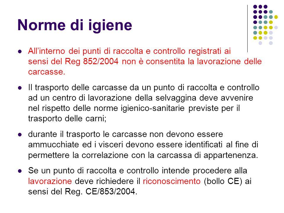 Norme di igiene All'interno dei punti di raccolta e controllo registrati ai sensi del Reg 852/2004 non è consentita la lavorazione delle carcasse. Il