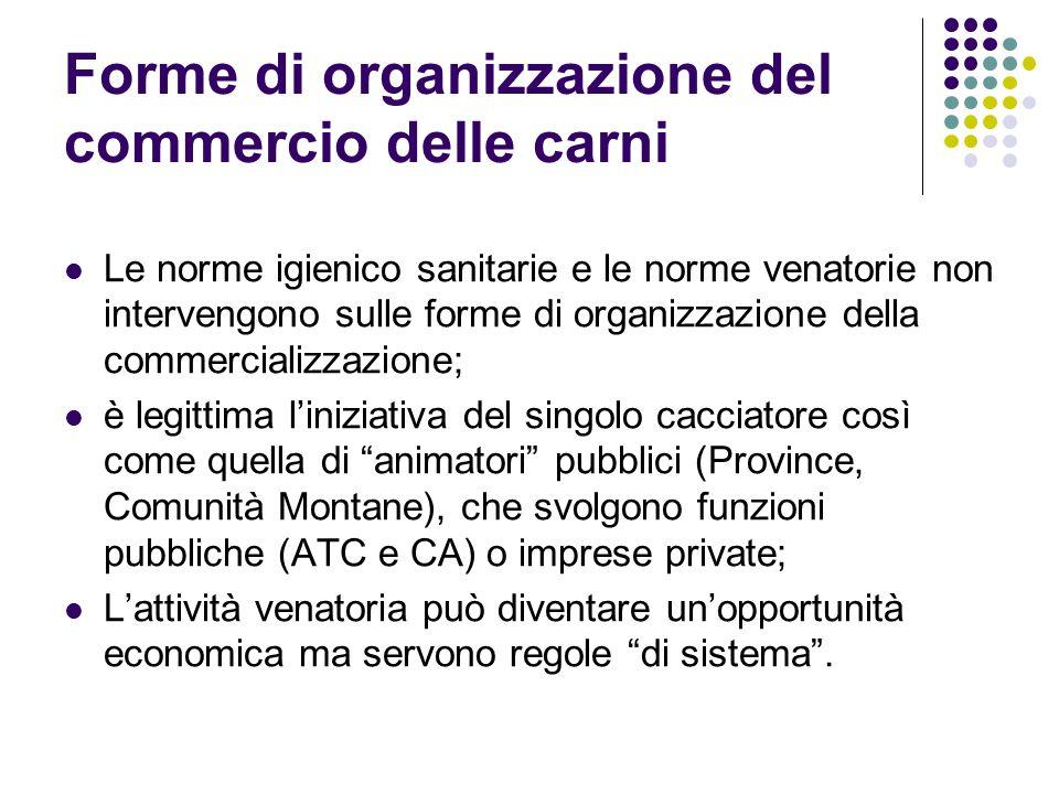 Forme di organizzazione del commercio delle carni Le norme igienico sanitarie e le norme venatorie non intervengono sulle forme di organizzazione dell