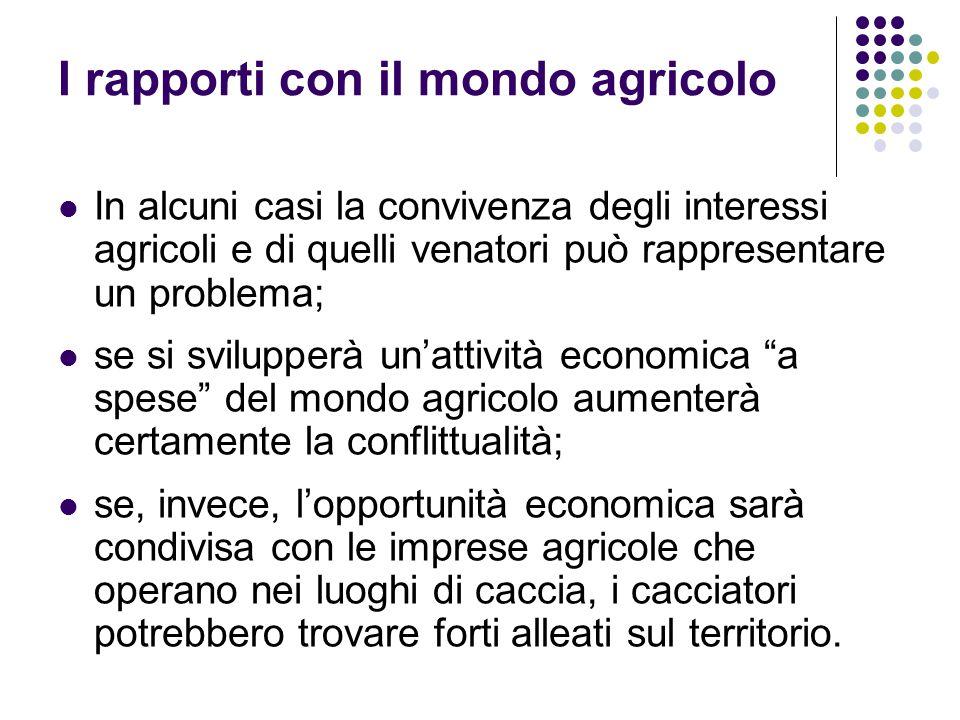 I rapporti con il mondo agricolo In alcuni casi la convivenza degli interessi agricoli e di quelli venatori può rappresentare un problema; se si svilu
