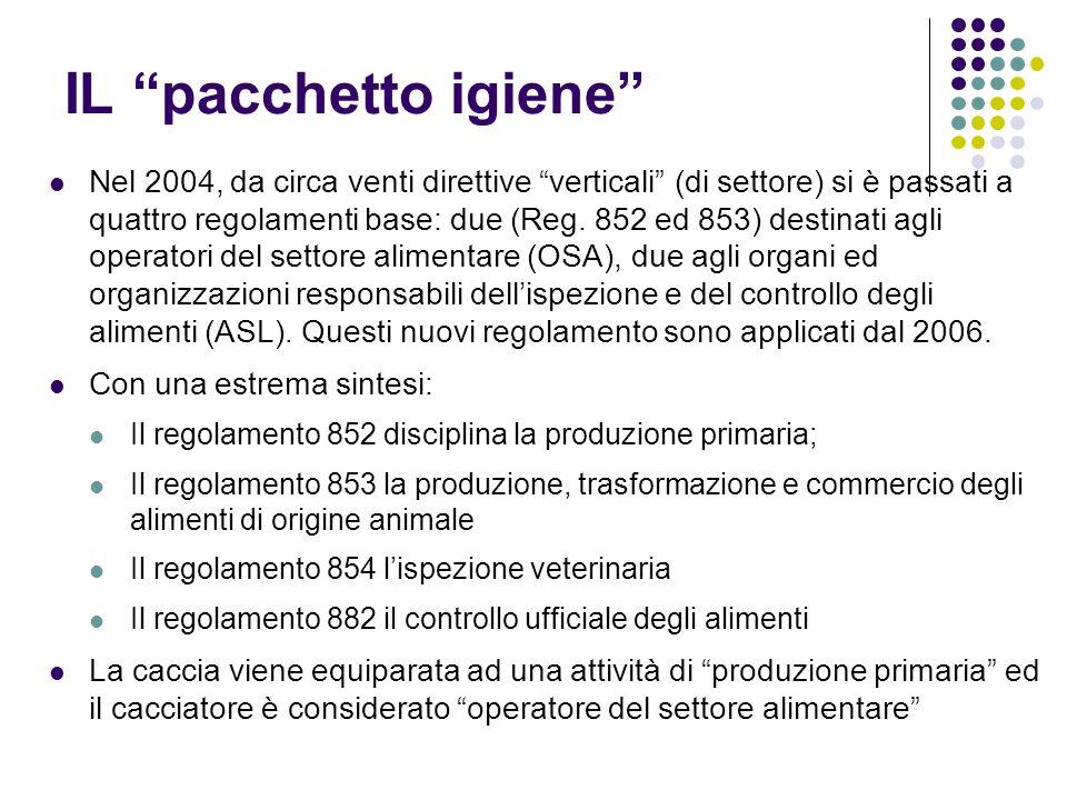 """IL """"pacchetto igiene"""" Nel 2004, da circa venti direttive """"verticali"""" (di settore) si è passati a quattro regolamenti base: due (Reg. 852 ed 853) desti"""